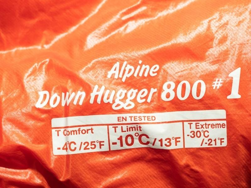 モンベルアルパインダウンハガー800#1の対応温度