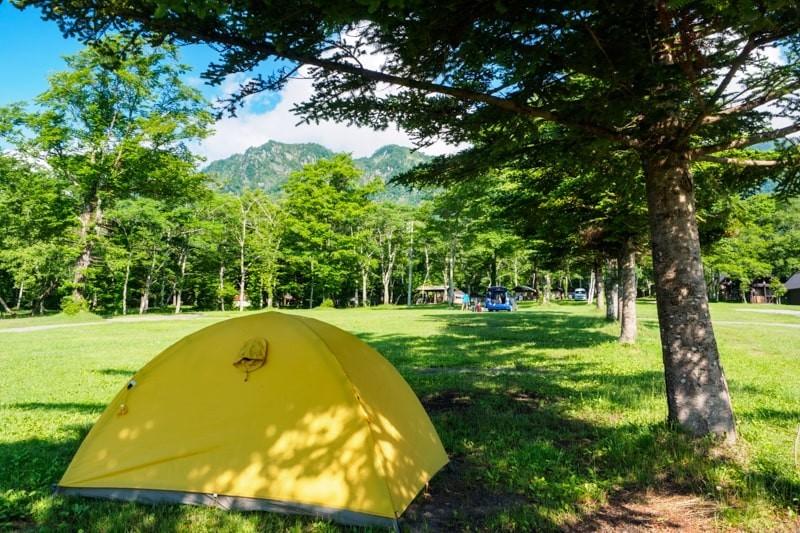 真夏の木陰にテントを張る