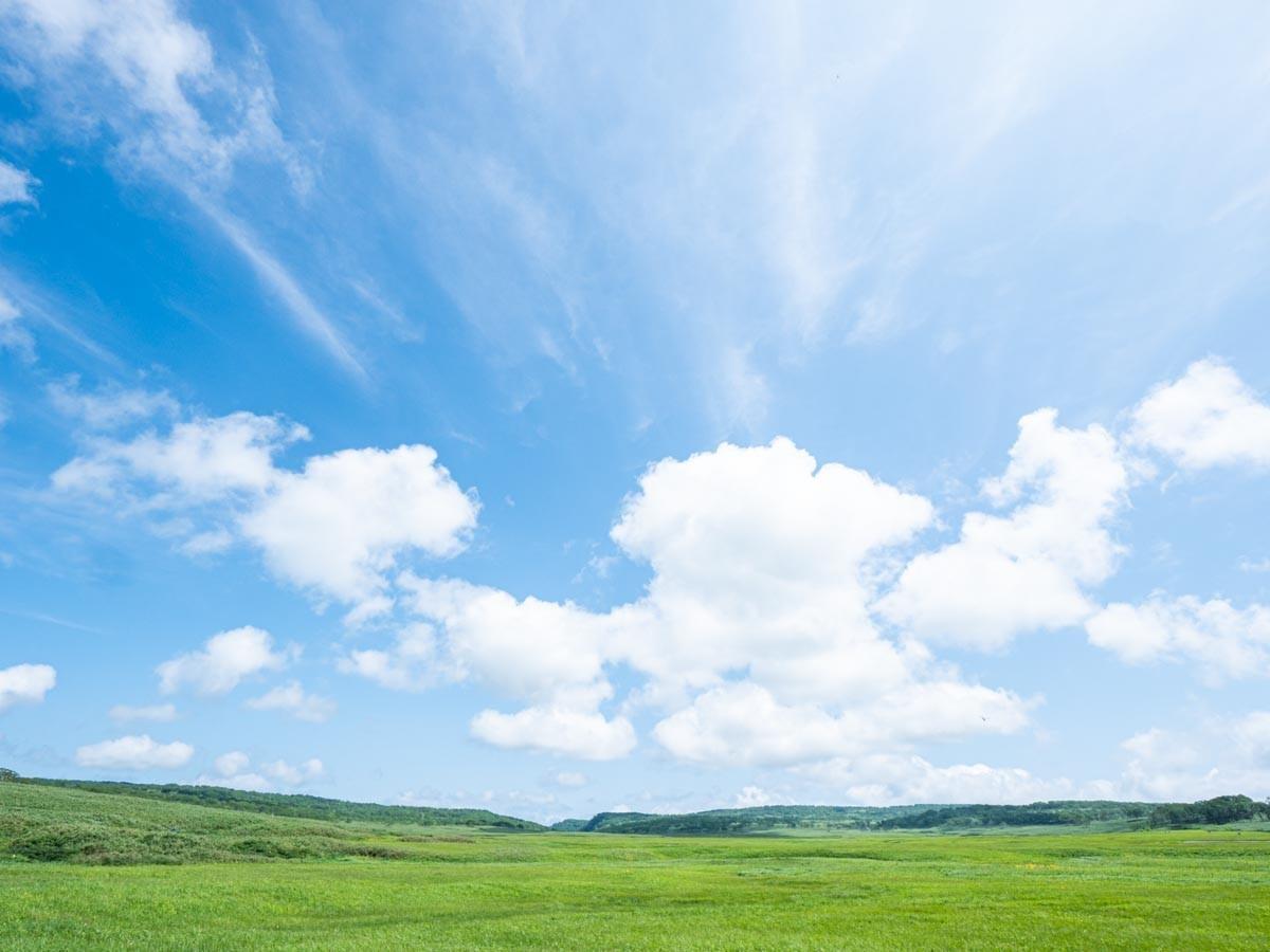 青空と緑の高原