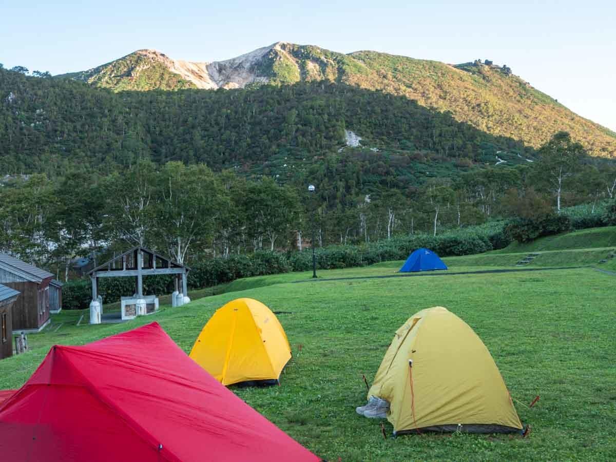 ニセコのキャンプ場から見る山