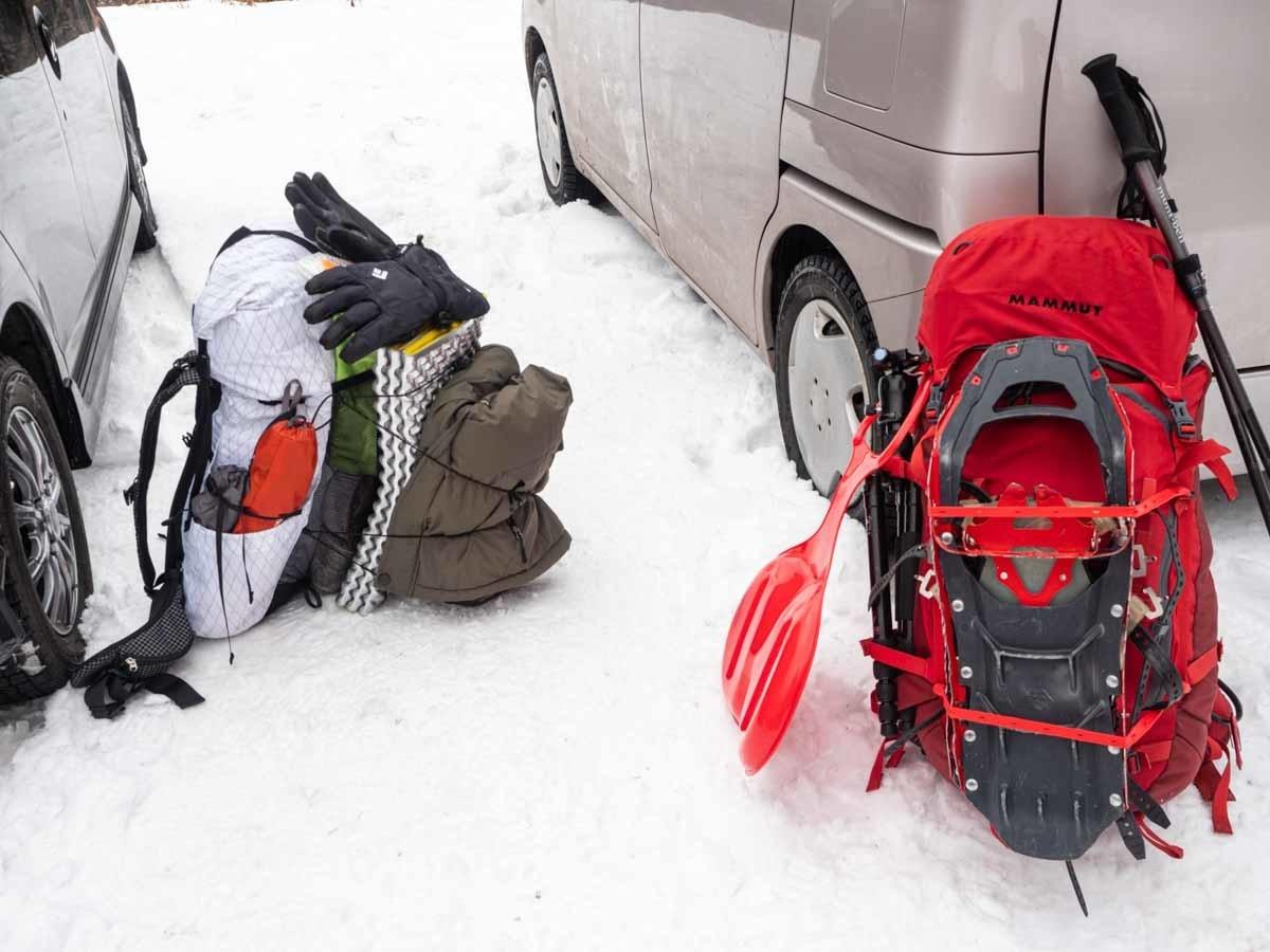 冬山テント泊装備のザック