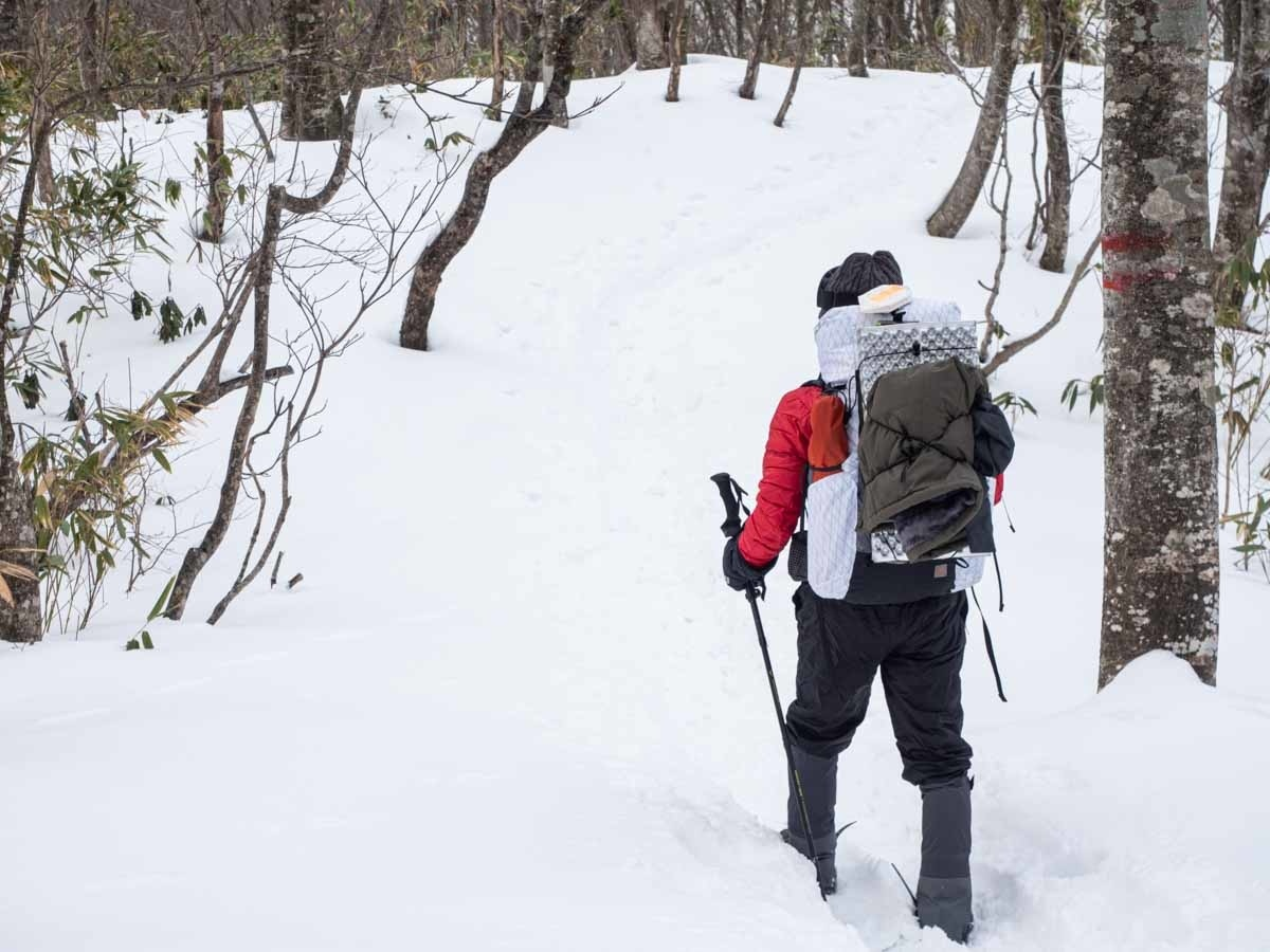 冬の大日ヶ岳を登る後ろ姿