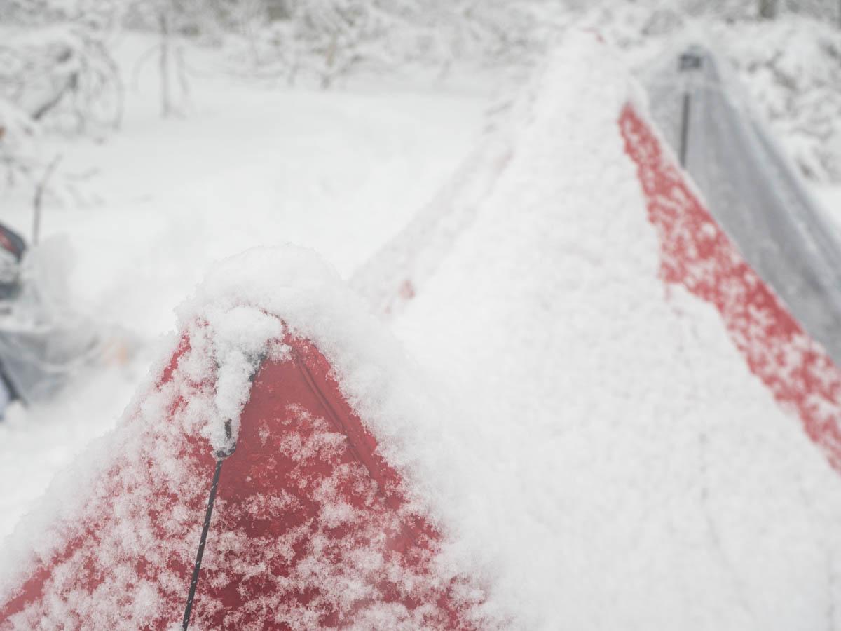 テントに雪が積もる