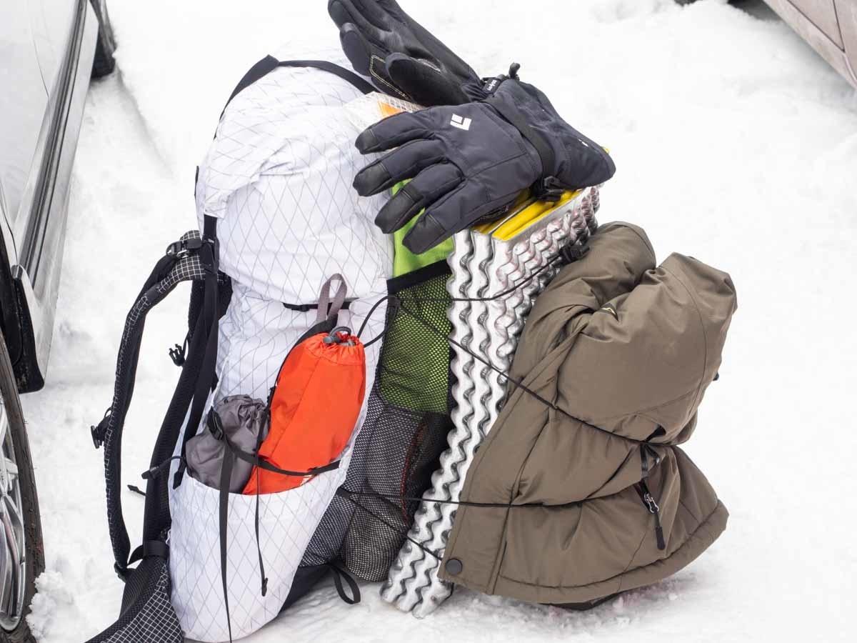 シオさんの冬山テント泊装備のザック