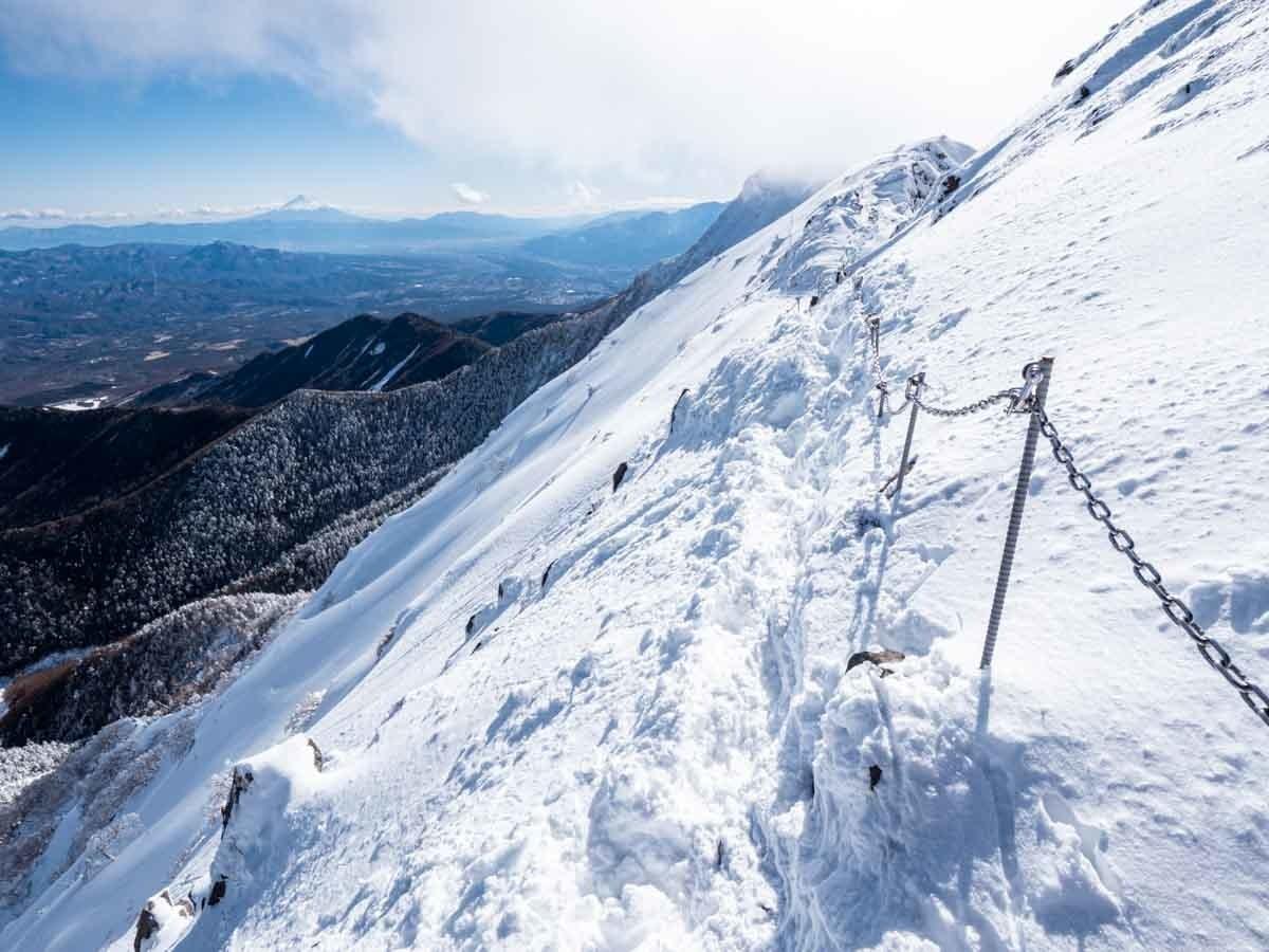 雪山の鎖場トラバース