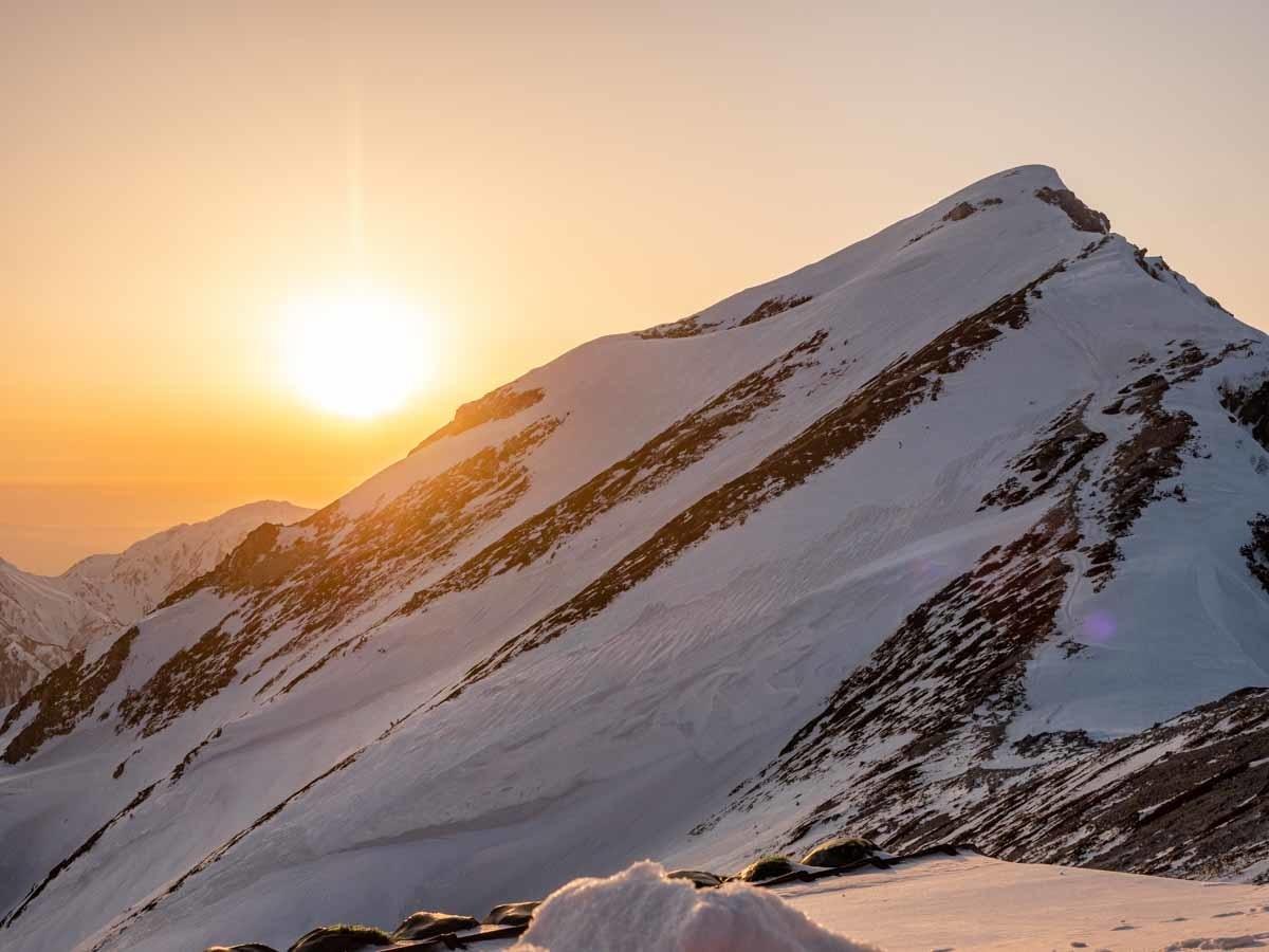 唐松岳に沈む夕日