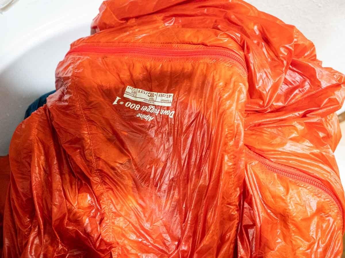 脱水後の寝袋