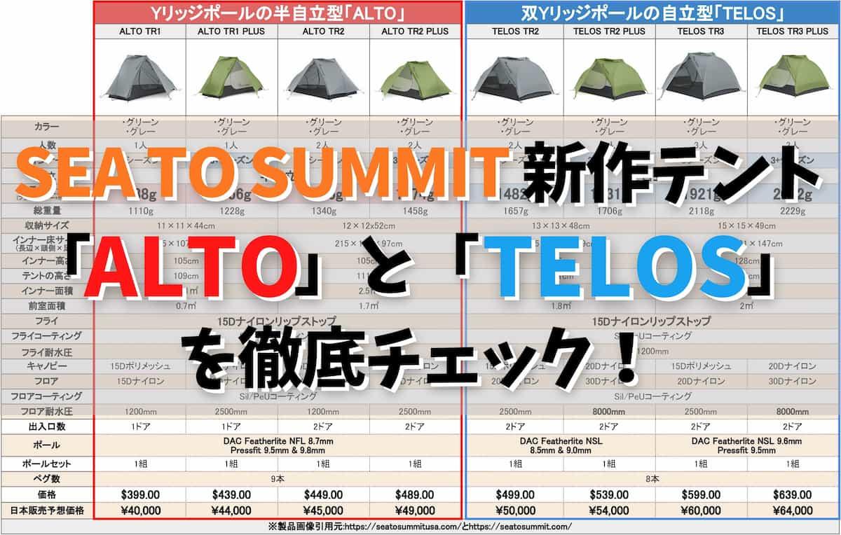 SEA TO SUMMIT 新作テント 「ALTO」と「TELOS」 徹底チェック