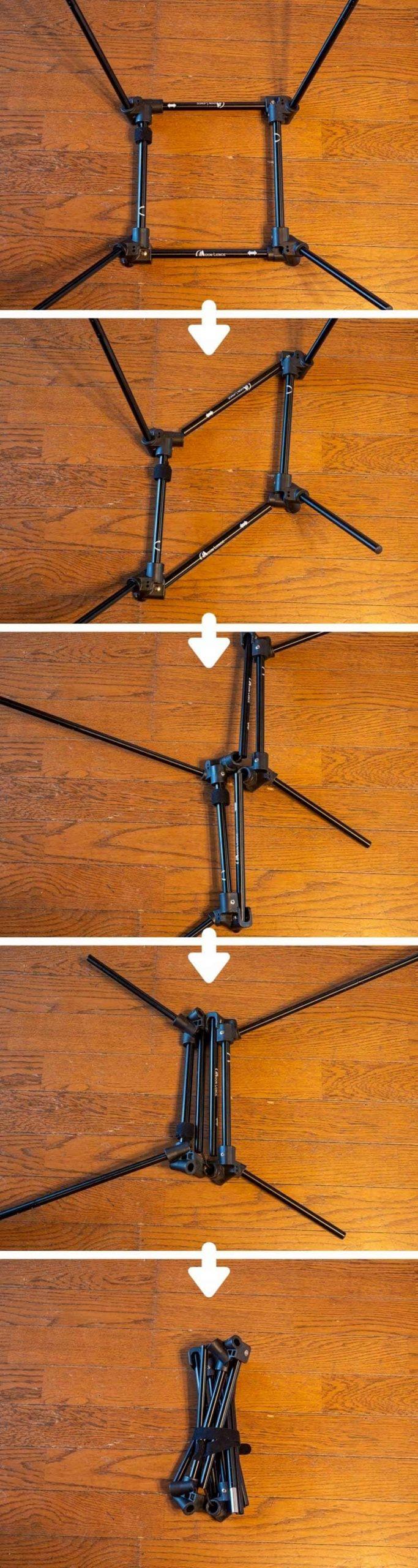 ムーンレンス グラウンドチェア風2WAYチェア 脚の畳み方