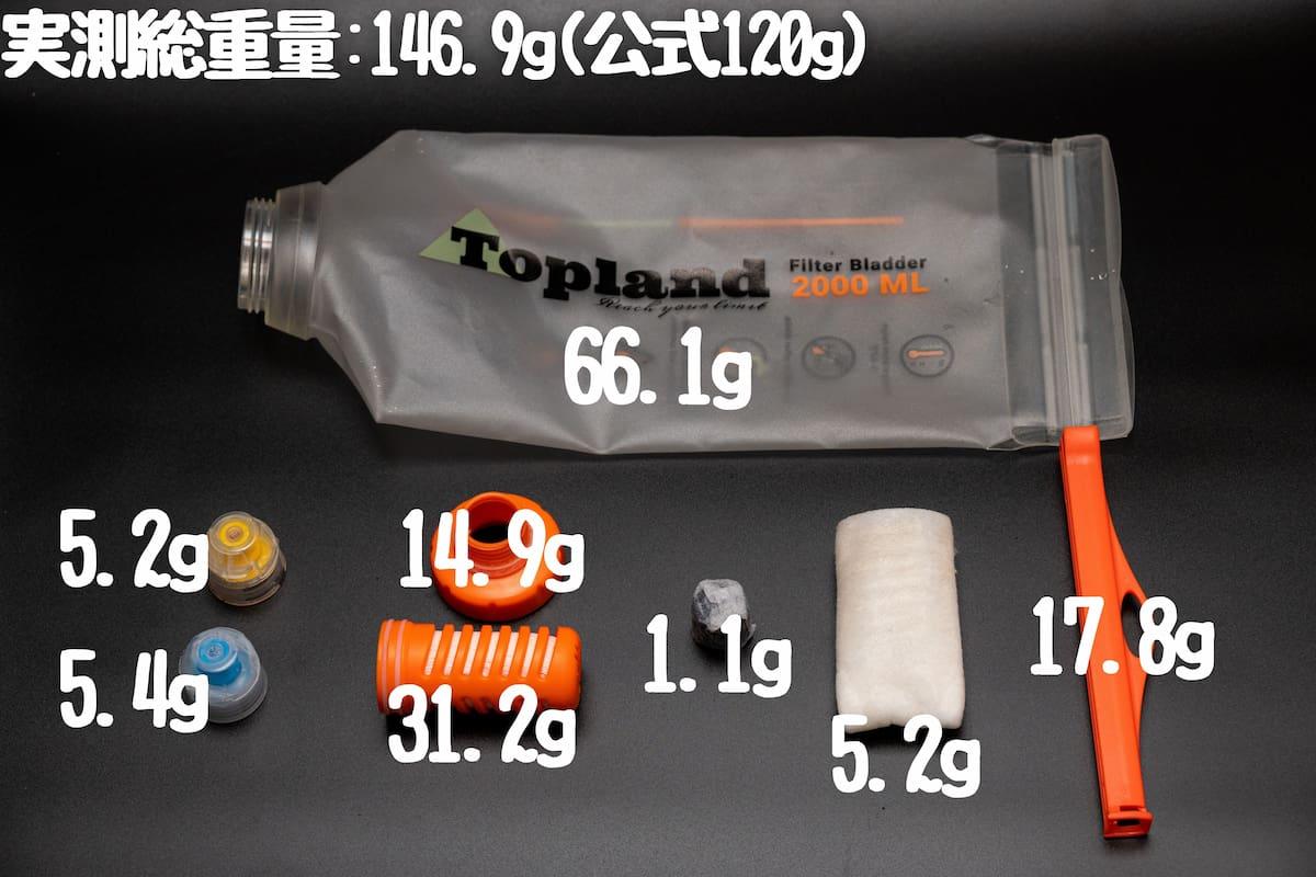 topland 携帯浄水器 Filter Bladder パーツ重量
