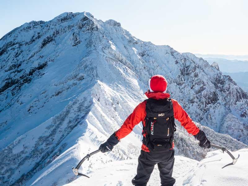 全身モンベルで冬山登山