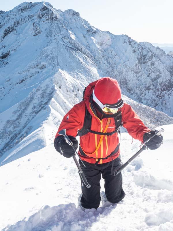 モンベル ストリームパーカで冬山登山