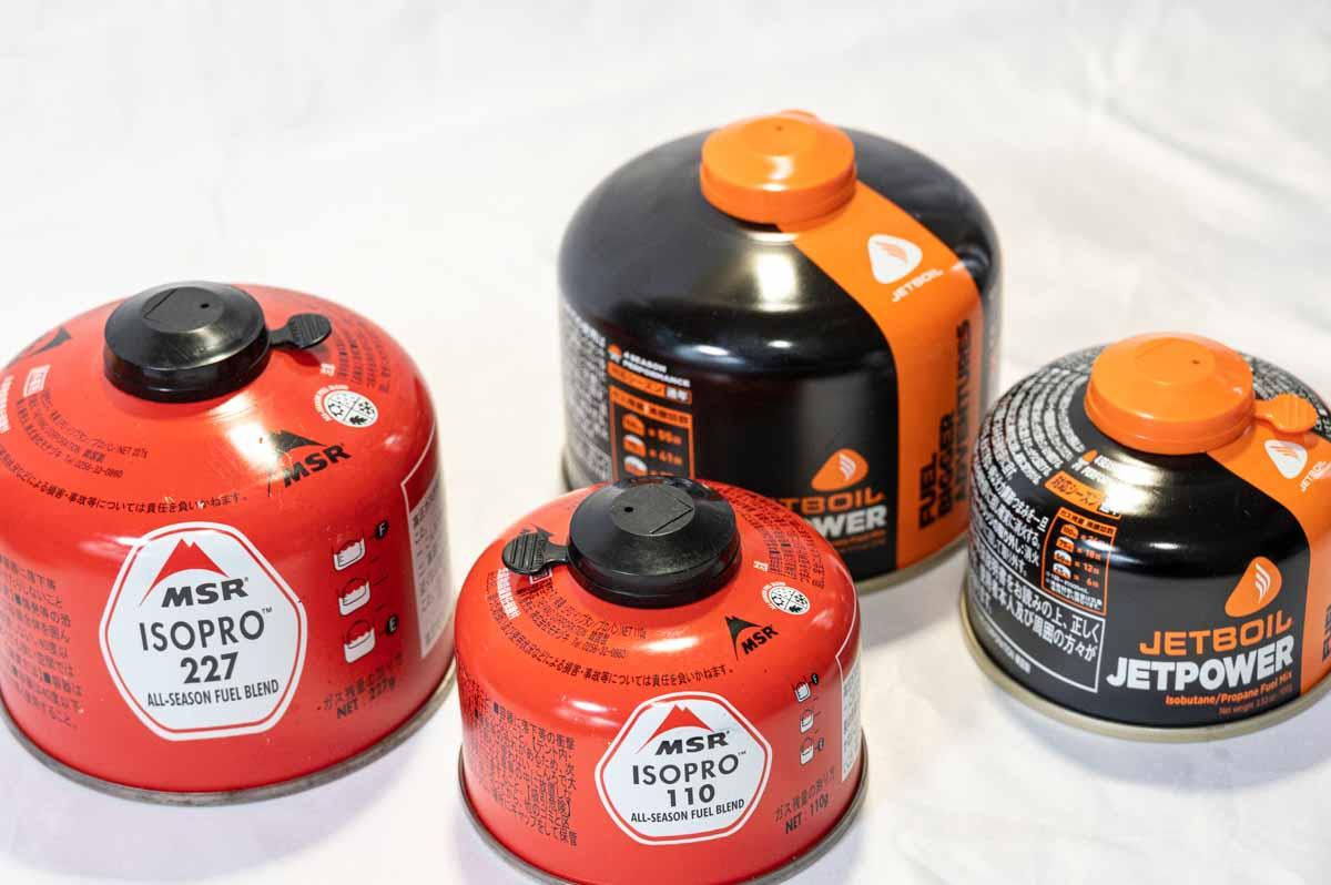 ジェットボイルとMSRのガス缶