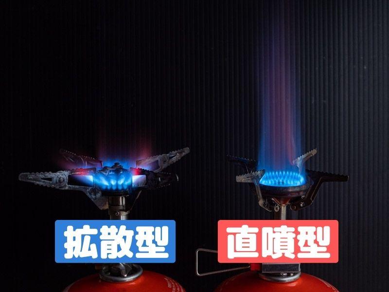 バーナーの炎の出方 拡散型・直噴型