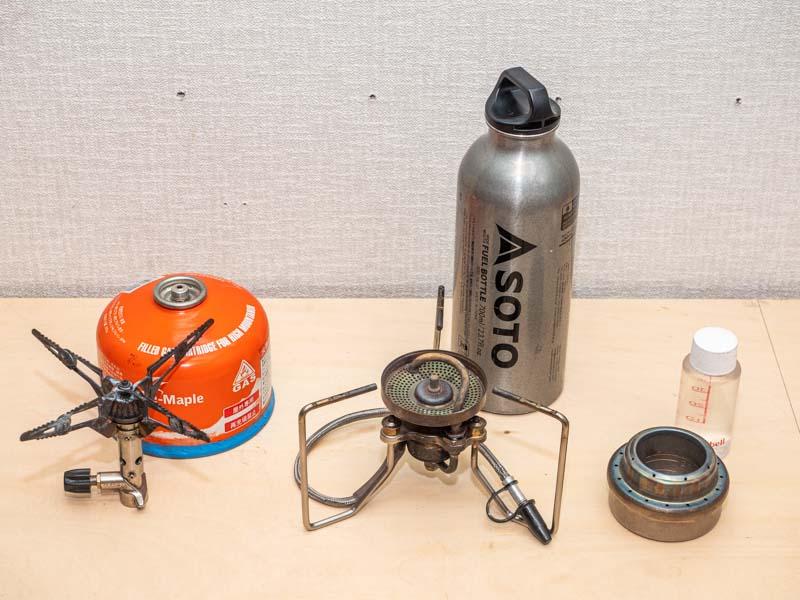 シングルバーナーの燃料 ガス・ガソリン・アルコール