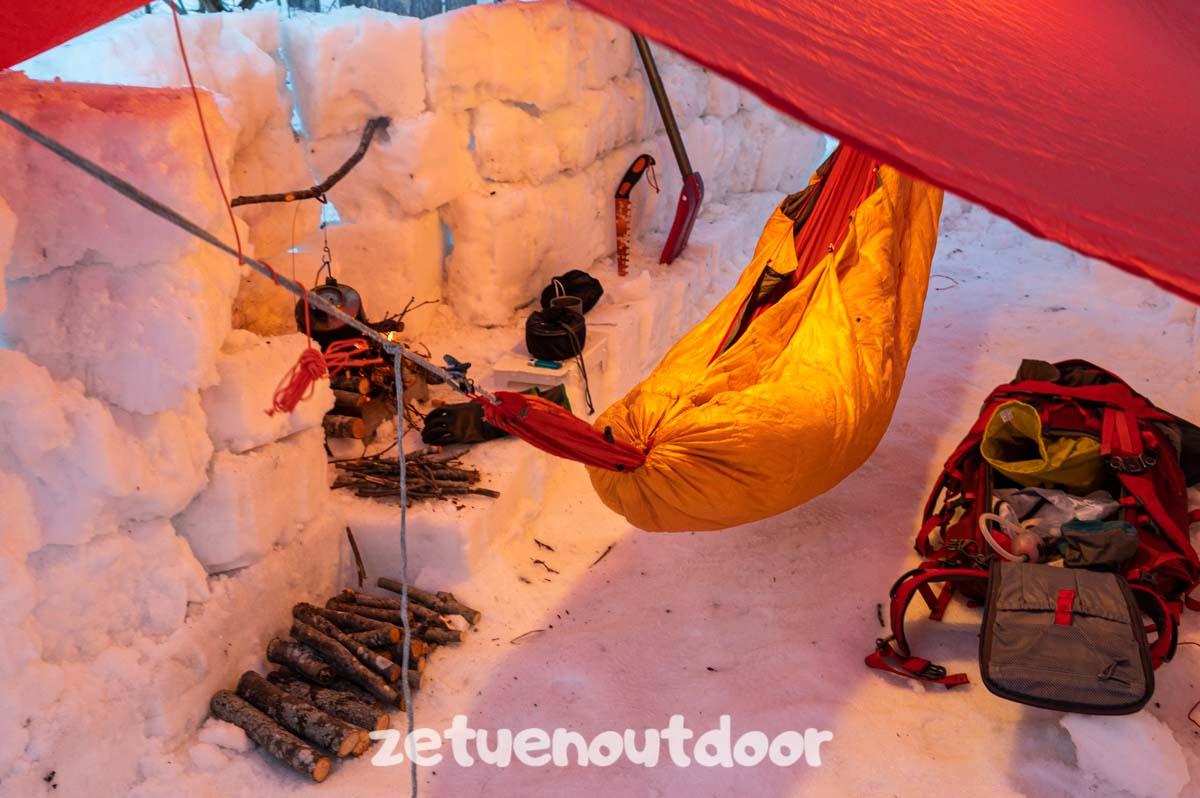 冬のハンモック泊