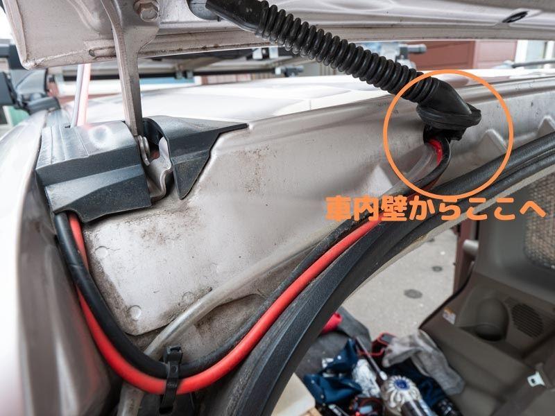 ソーラーパネルを車内取り込み