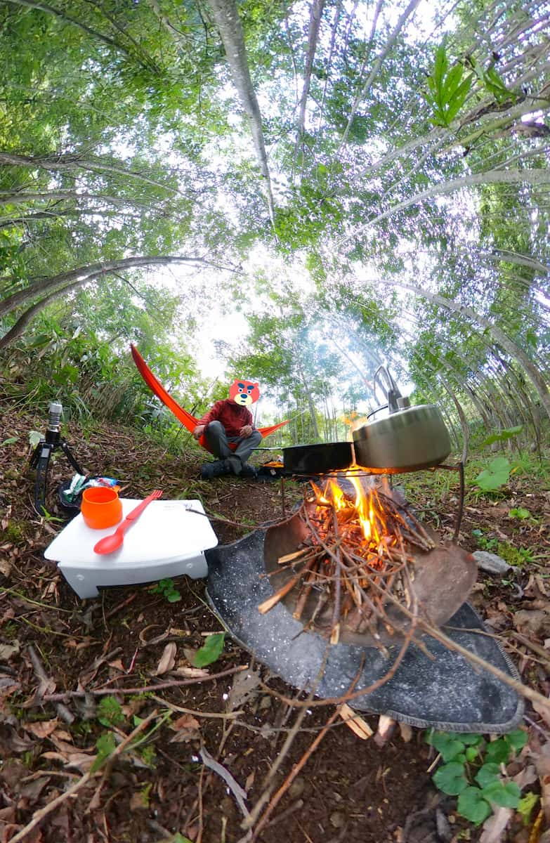 焚き火とハンモック